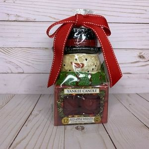 Yankee Candle gift set RED APPLE WREATH snowman